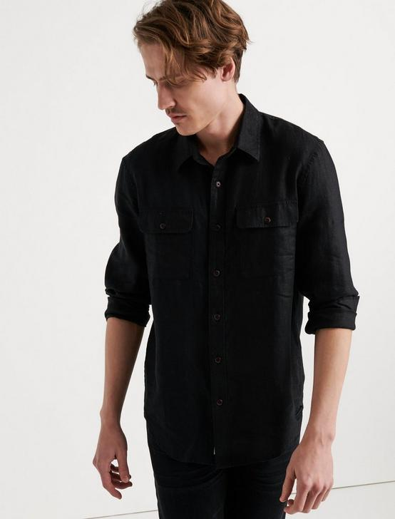 HAVANA LINEN  SHIRT, JET BLACK, productTileDesktop