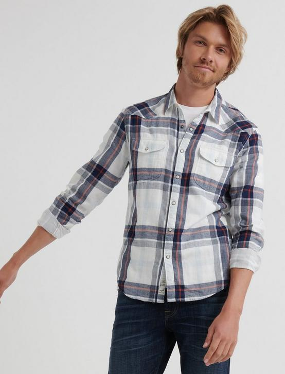 DOUBLE WEAVE SANTA FE WESTERN SHIRT, BLUE PLAID, productTileDesktop
