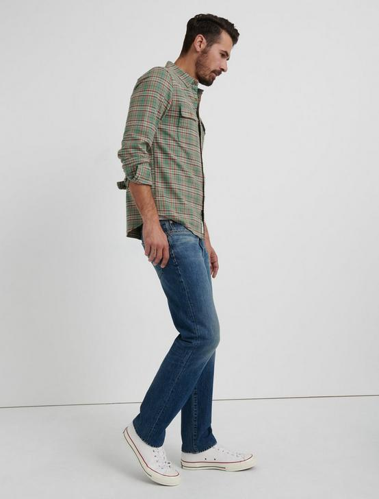SATURDAY STRETCH LIGHTWEIGHT FLANNEL, GREEN PLAID, productTileDesktop