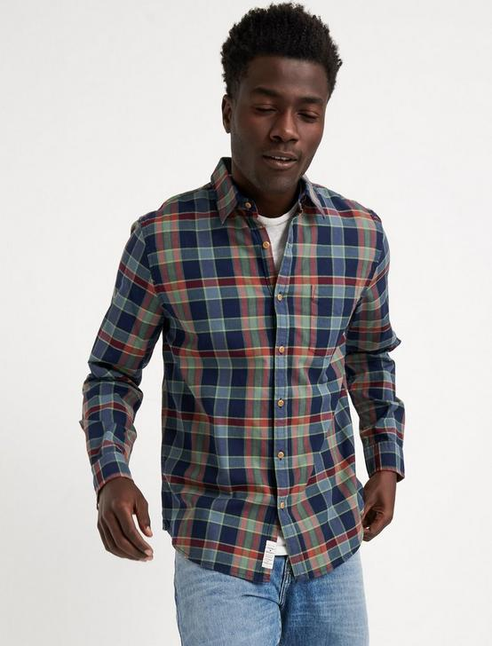 SLIM FIT ONE POCKET BALLONA SHIRT, BLUE PLAID, productTileDesktop