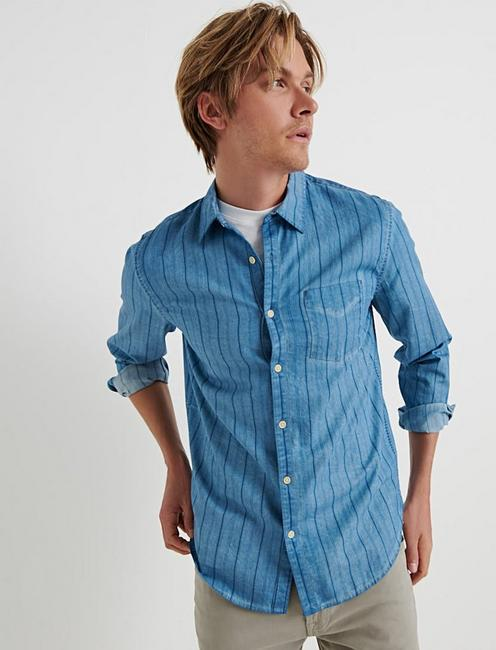 Slim Fit Indigo Stripe One Pocket Shirt