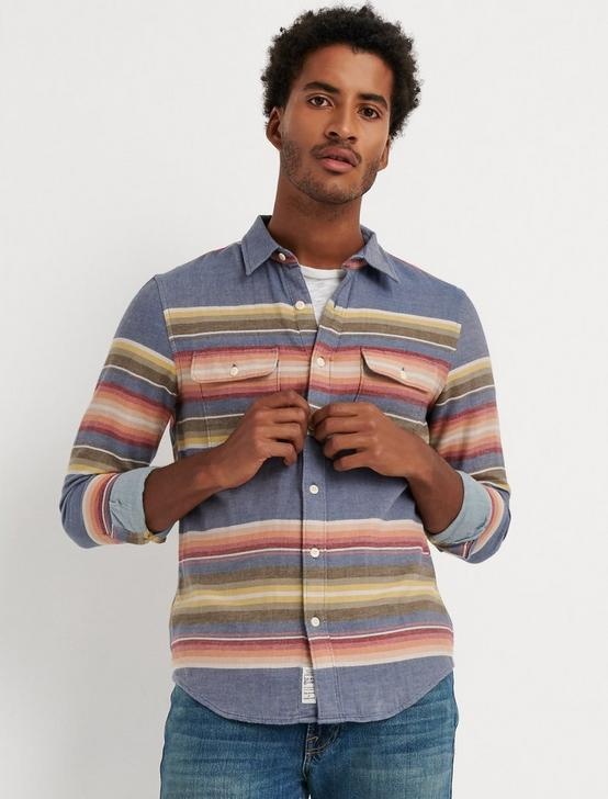 DOUBLE WEAVE SUNSET STRIPE SHIRT, MULTI, productTileDesktop