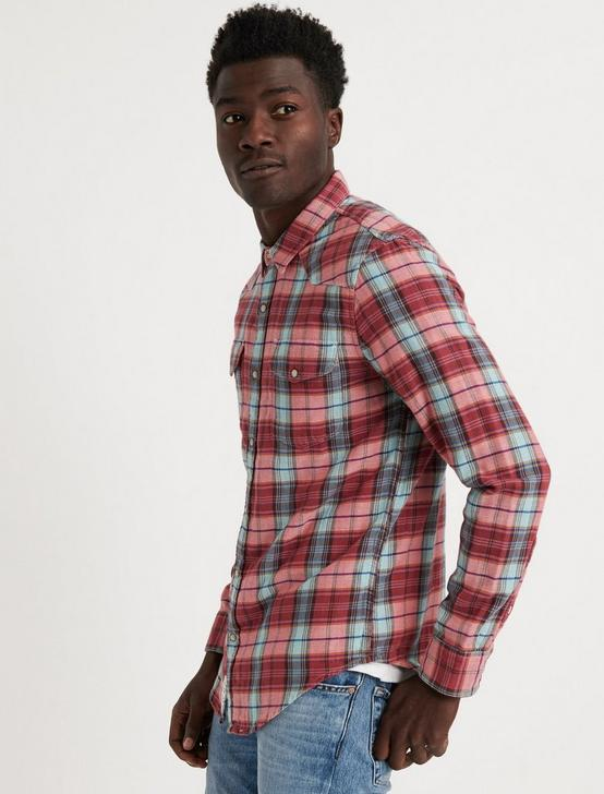 DOUBLE WEAVE WESTERN SHIRT, RED PLAID, productTileDesktop