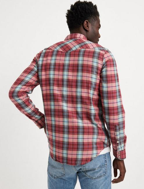 DOUBLE WEAVE WESTERN SHIRT, RED PLAID