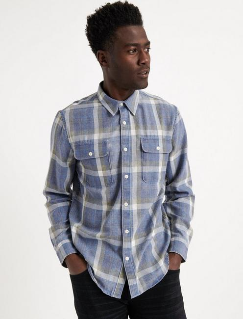 Blue Plaid Camp Twill Shirt