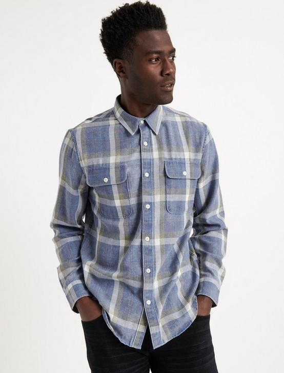 BLUE PLAID CAMP TWILL SHIRT, BLUE PLAID, productTileDesktop