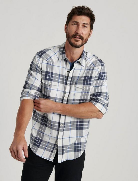 SATURDAY STRETCH WESTERN SHIRT, WHITE/CHARCOAL, productTileDesktop