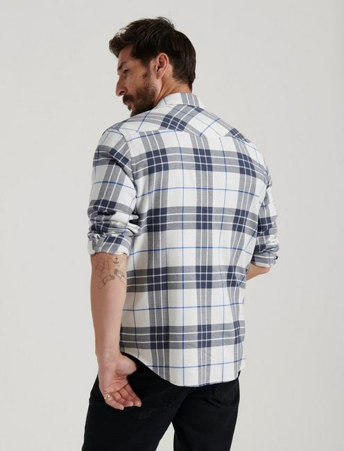 SATURDAY STRETCH WESTERN SHIRT, WHITE/CHARCOAL