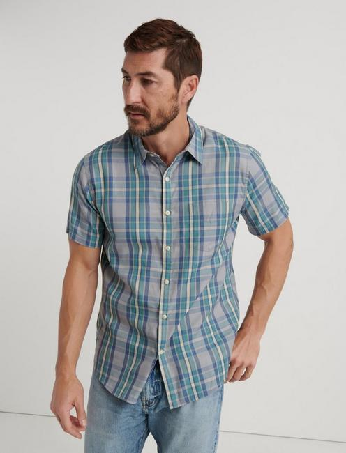 SLIM FIT One Pocket Navy Check Shirt, BLUE PLAID