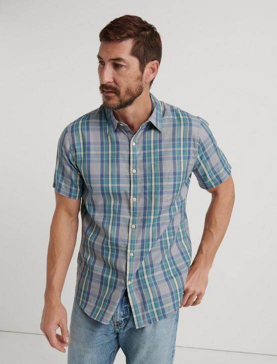 Slim Fit One Pocket Navy Check Shirt