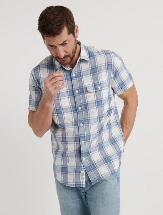 SLIM FIT TWO POCKET PLAID SHIRT, BLUE/NATL, productTileDesktop