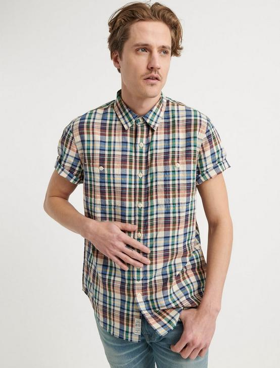 PLAID TWO POCKET SHIRT, MULTI, productTileDesktop