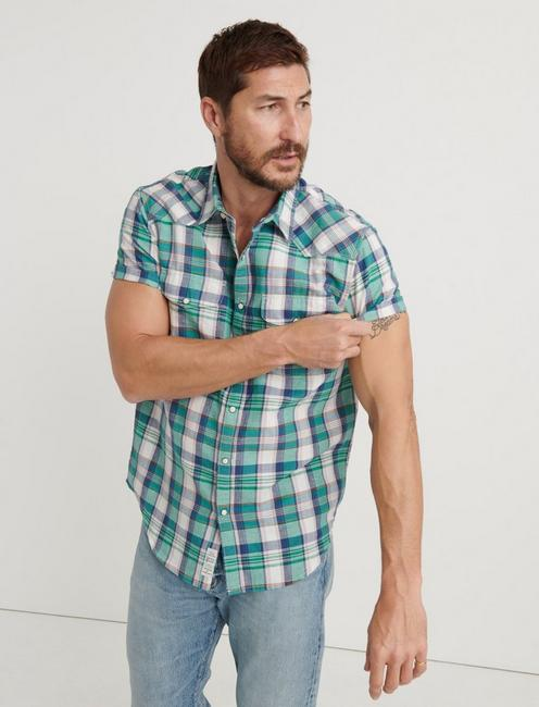 MADRAS PLAID SHIRT, GREEN PLAID