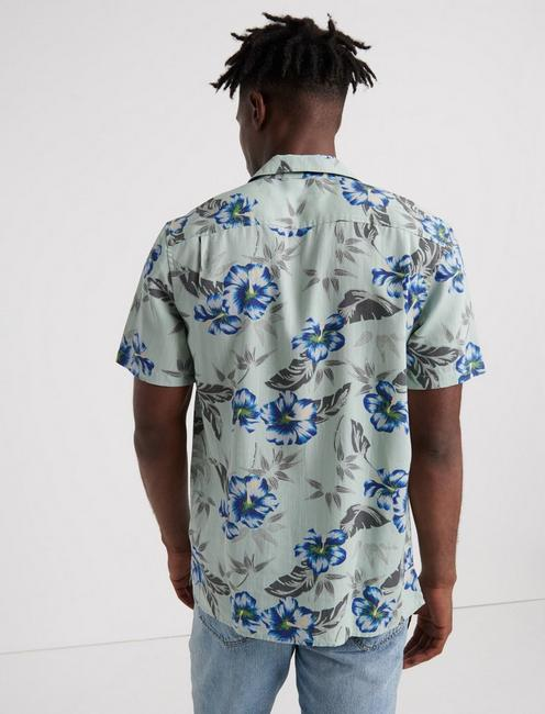 MAUI TENCEL CLUB COLLAR SHIRT, BLUE FLORAL