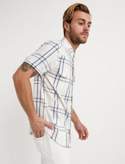 PLAID SANTA FE WESTERN SHIRT, WHITE PLAID MULTI