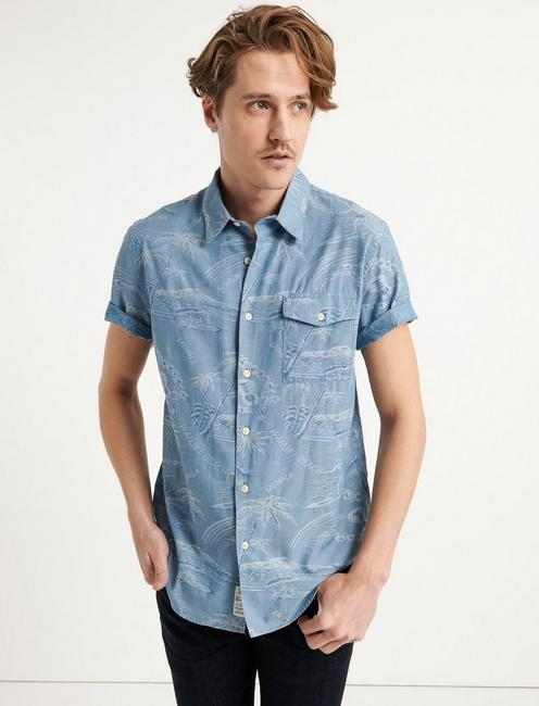 Slim Fit Blue Jacquard Monroe Shirt