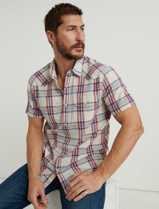 PLAID SANTA FE WESTERN SHIRT, NATURAL PLAID, productTileDesktop