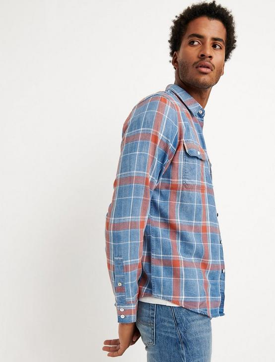 SLIM FIT AXE INDIGO SHIRT, SALMON, productTileDesktop
