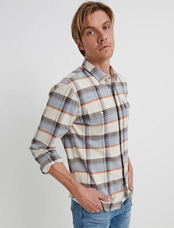 SATURDAY STRETCH LIGHTWEIGHT FLANNEL, BLUE PLAID, productTileDesktop