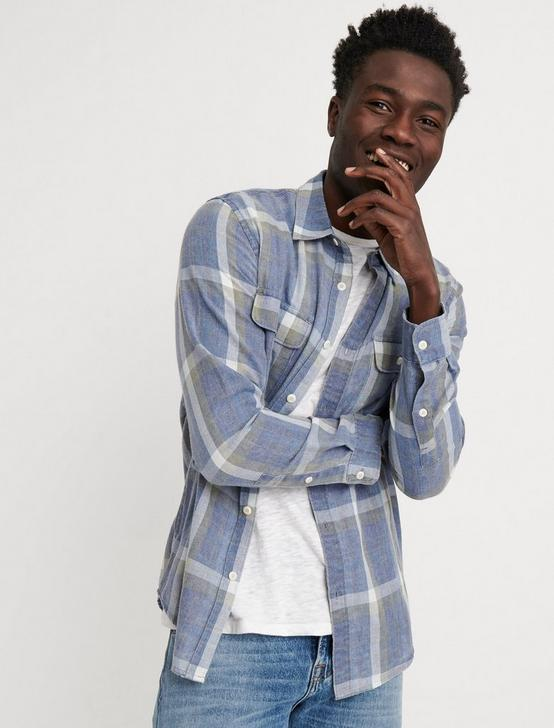 Slim Fit Blue Plaid Camp Twill Shirt