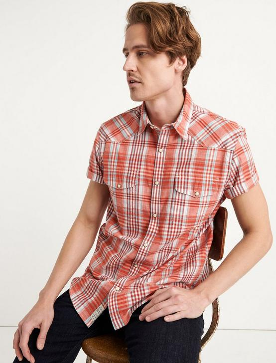 PLAID SANTA FE WESTERN SHIRT, ORANGE PLAID, productTileDesktop