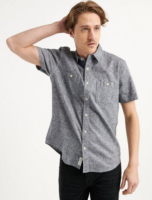 SATURDAY STRETCH LINEN CHAMBRAY WORK SHIRT,