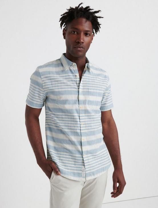 SLIM FIT STRIPED ONE POCKET SHIRT, BLUE STRIPE, productTileDesktop