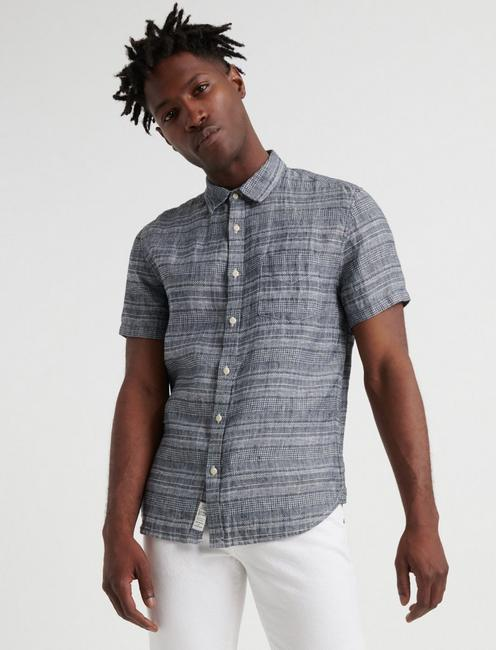 SLIM FIT STRIPED LINEN SHIRT,