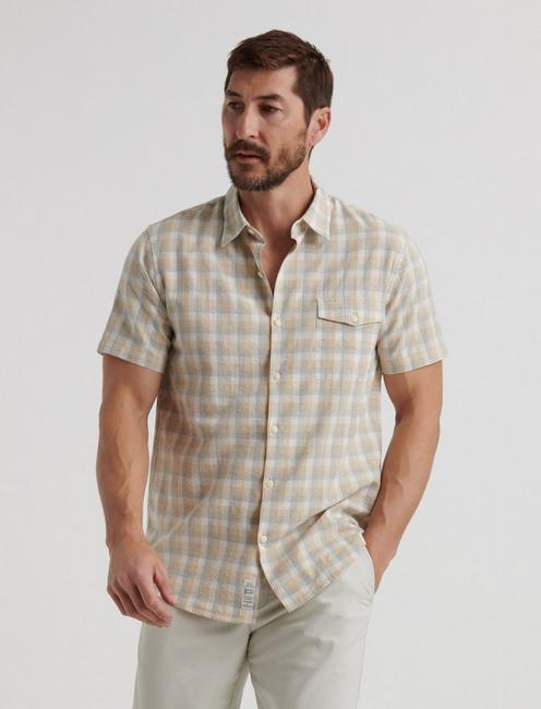 SLIM FIT NATURAL CHECK MONROE SHIRT,