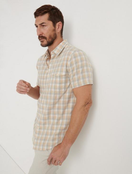 SLIM FIT NATURAL CHECK MONROE SHIRT, NAT/GREY, productTileDesktop