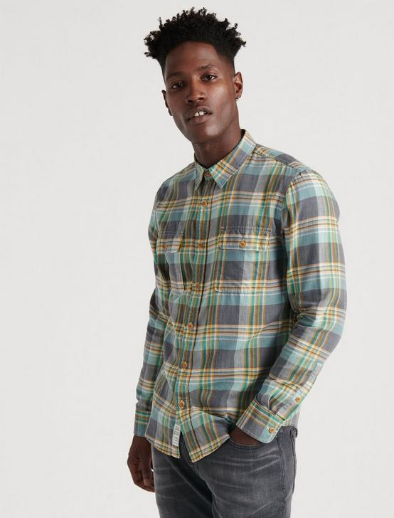LIGHTWEIGHT FLANNEL SHIRT, GREY/GOLD, productTileDesktop