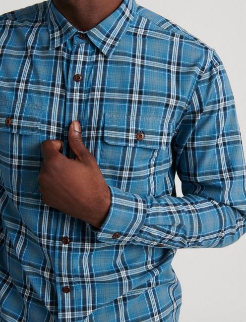 SATURDAY STRETCH WORKWEAR SHIRT, BLUE PLAID