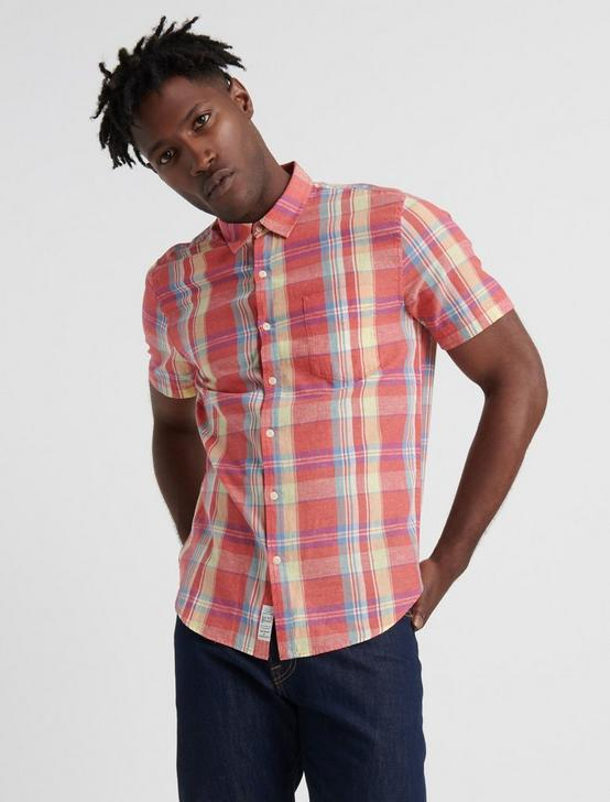 MADRAS PLAID SHIRT, RED/YELLOW, productTileDesktop