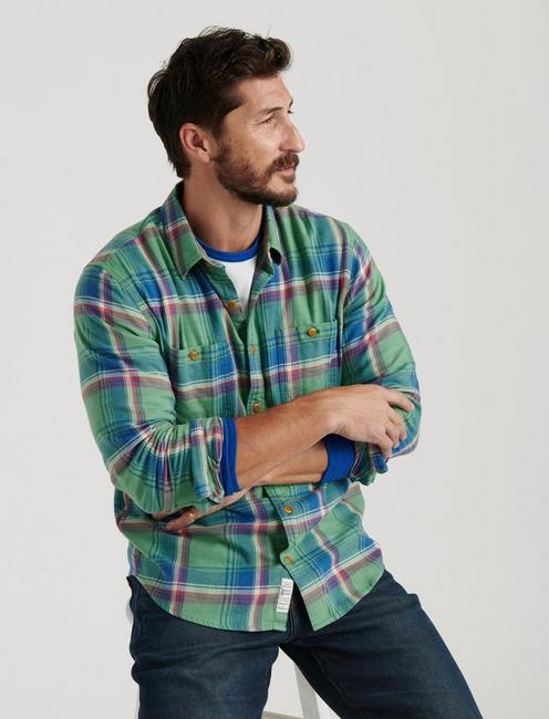 SATURDAY STRETCH FLANNEL, GREEN PLAID