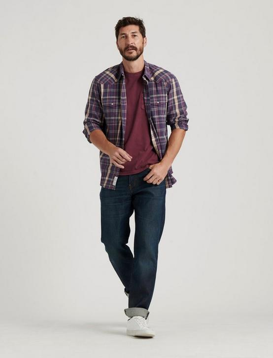 SATURDAY STRETCH WESTERN SHIRT, PURPLE PLAID MULTI, productTileDesktop