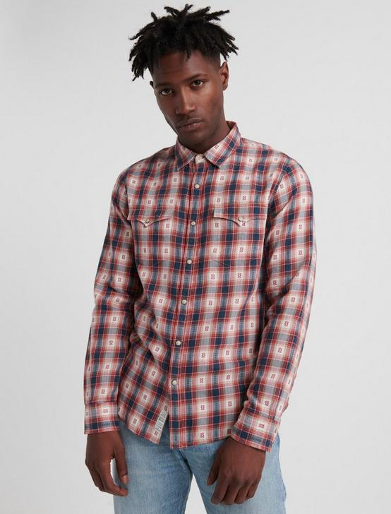 NO YOKE WESTERN SHIRT, RED PLAID, productTileDesktop