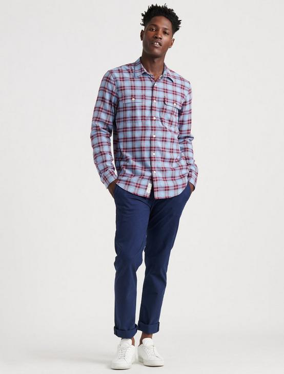 SATURDAY STRETCH LIGHTWEIGHT FLANNEL SHIRT, BLUE/RED, productTileDesktop