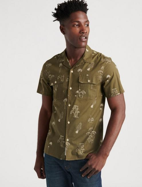 SATURDAY STRETCH SHROOM SHIRT, OLIVE PRINT