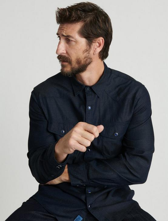 TENCEL INDIGO WESTERN SHIRT, NAVY BLUE, productTileDesktop