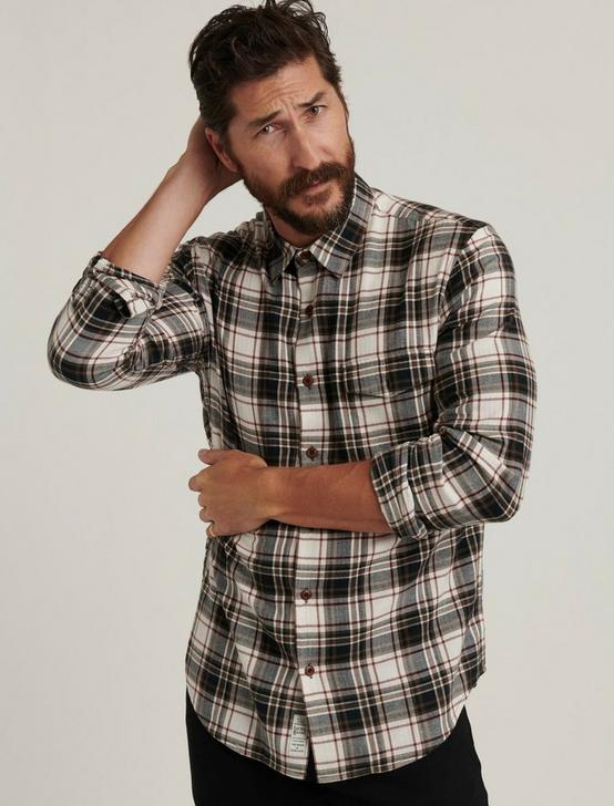 HERRINGBONE PLAID SHIRT, WHITE/BLACK PLAID, productTileDesktop