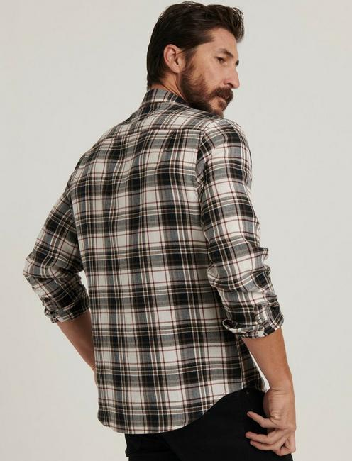 HERRINGBONE PLAID SHIRT, WHITE/BLACK PLAID