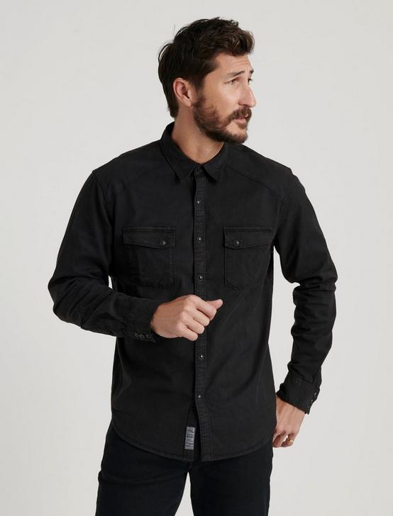 TENCEL MARTIN WESTERN SHIRT, WASHED BLACK, productTileDesktop