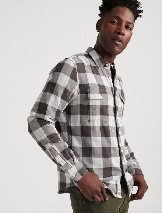 DOUBLEWEAVE BUFFALO CHECK SHIRT, BLACK/WHITE, productTileDesktop