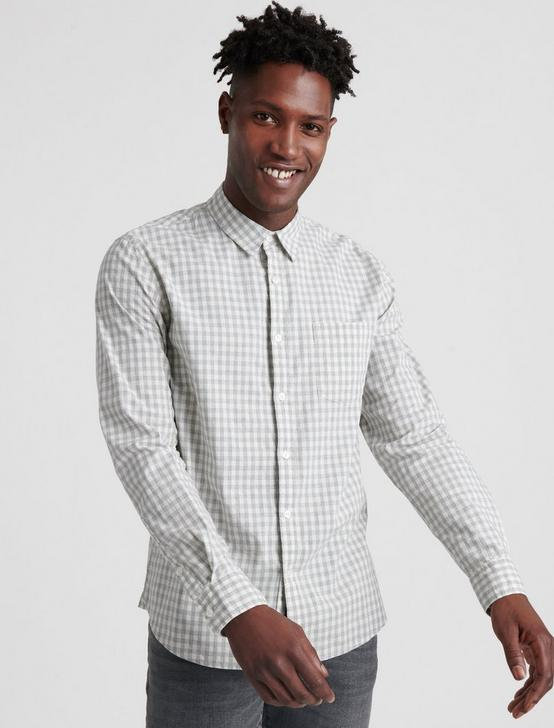 BALLONA PLAID SHIRT, WHITE/ HEATHER GREY, productTileDesktop