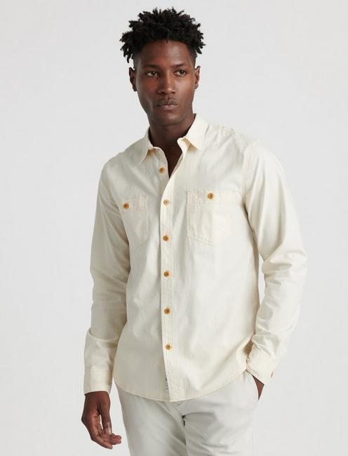 SLIM FIT CHAMBRAY WORK SHIRT, NATURAL