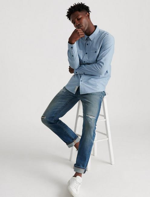 SLIM FIT CHAMBRAY WORK SHIRT,