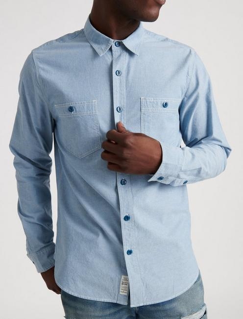 SLIM FIT CHAMBRAY WORK SHIRT, CHAMBRAY BLUE