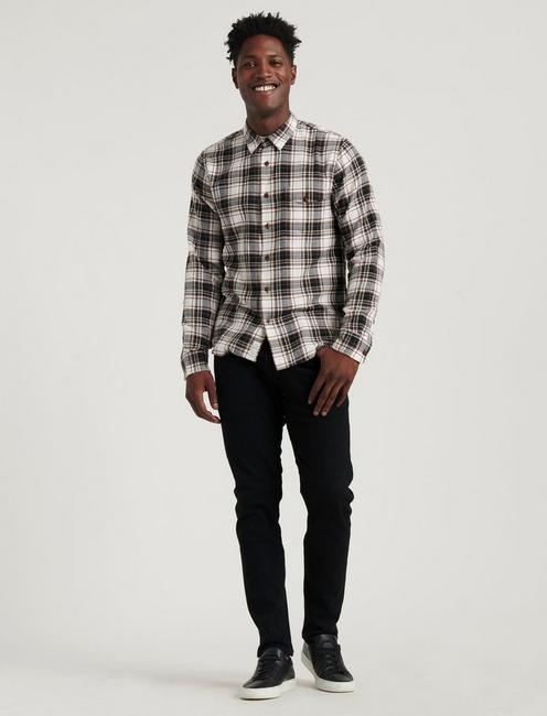 HERRINGBONE PLAID SHIRT in SLIM FIT, WHITE/BLACK PLAID