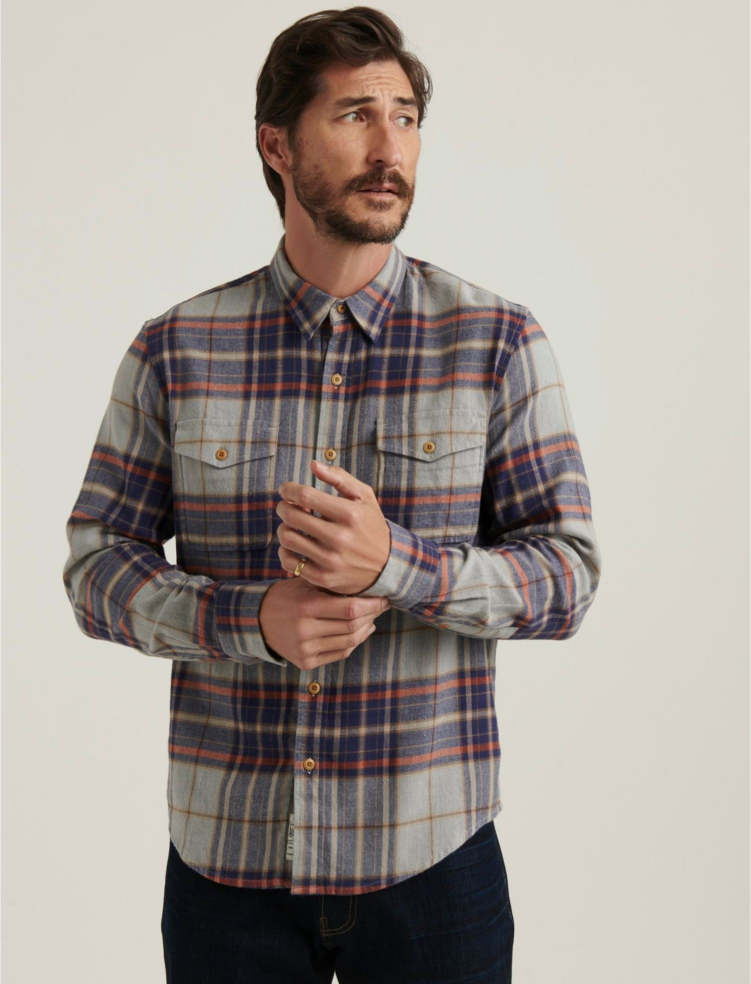 Men's Vintage Workwear – 1920s, 1930s, 1940s, 1950s Lucky Brand Redwood Workwear Shirt In Greyblue Size Small $23.98 AT vintagedancer.com