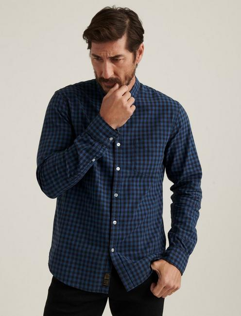 LONG SLEEVE 1 POCKET BALLONA SHIRT, BLUE PLAID